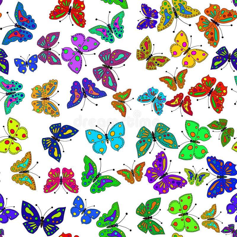 Άνευ ραφής ζωηρόχρωμο σχέδιο πεταλούδων διάνυσμα διανυσματική απεικόνιση