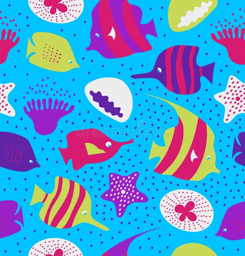 Άνευ ραφής ζωηρόχρωμο υπόβαθρο με τα χαριτωμένα ψάρια, μέδουσες Θαλάσσια σύσταση, σχέδιο με τα πλάσματα θάλασσας, κοραλλιογενείς  διανυσματική απεικόνιση