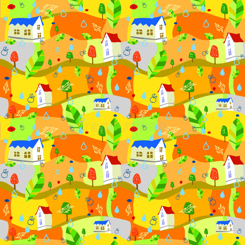 Άνευ ραφής ζωηρόχρωμο φθινόπωρο υποβάθρου διανυσματική απεικόνιση