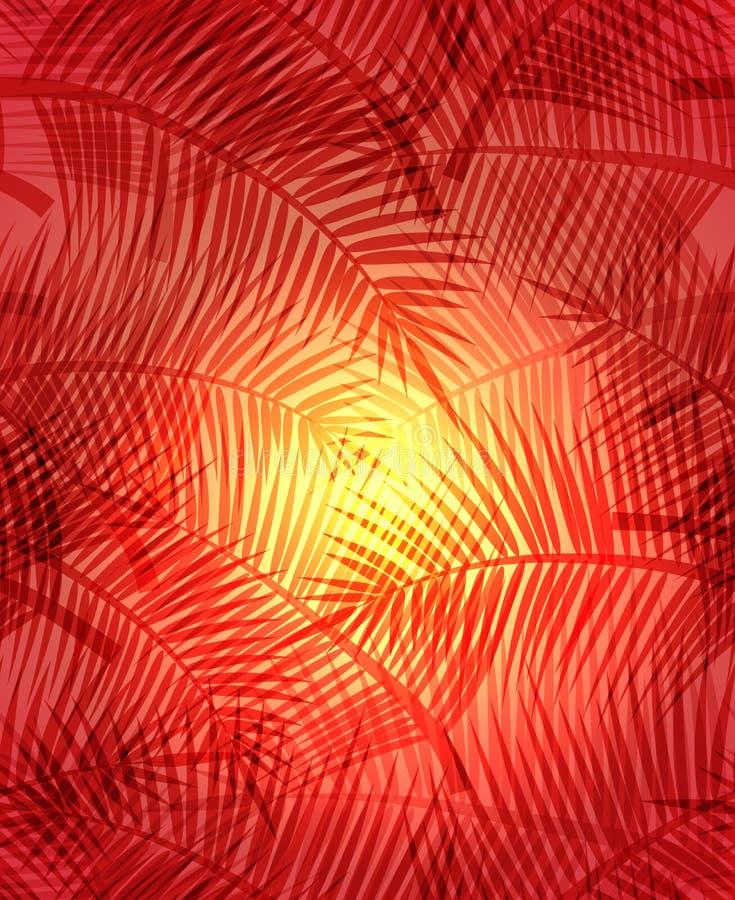 Άνευ ραφής θερινή σύσταση με τους κλάδους φοινικών στο πορτοκαλί υπόβαθρο απεικόνιση αποθεμάτων