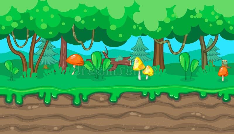 Άνευ ραφής θερινό δασικό τοπίο με τα πορτοκαλιά μανιτάρια για το σχέδιο παιχνιδιών απεικόνιση αποθεμάτων