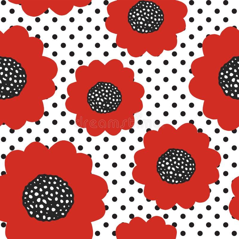 Άνευ ραφής θερινό σχέδιο με τα κόκκινα λουλούδια παπαρουνών απεικόνιση αποθεμάτων