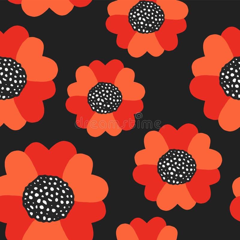 Άνευ ραφής θερινό σχέδιο με τα κόκκινα λουλούδια παπαρουνών ελεύθερη απεικόνιση δικαιώματος