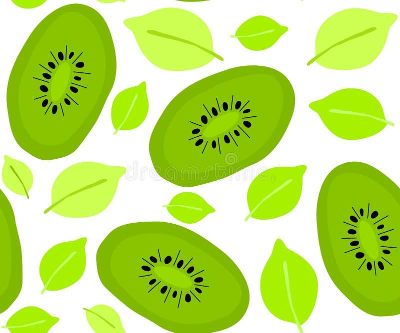 Άνευ ραφής θερινό σχέδιο με τα φρούτα, ακτινίδιο, φύλλα r διανυσματική απεικόνιση