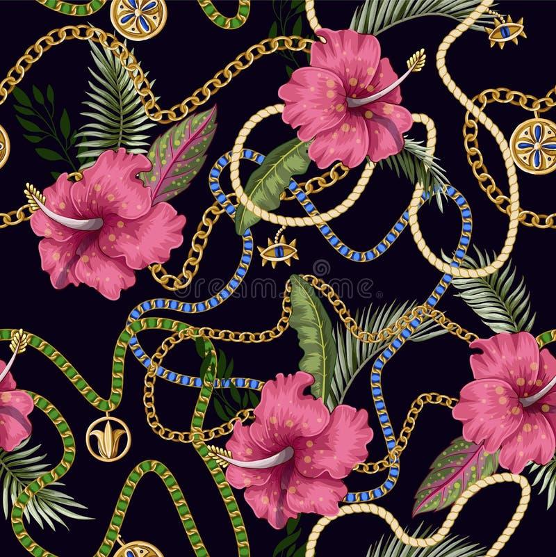 Άνευ ραφής θερινό σχέδιο με τις ζώνες, τις αλυσίδες και τα τροπικά φύλλα και τα λουλούδια Καθιερώνουσα τη μόδα τυπωμένη ύλη μόδας ελεύθερη απεικόνιση δικαιώματος