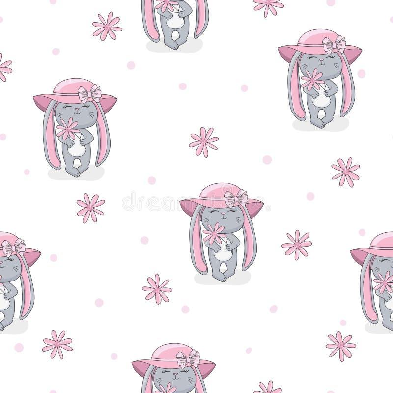 Άνευ ραφής θερινό σχέδιο με το χαριτωμένο μωρό κουνελιών απεικόνιση αποθεμάτων