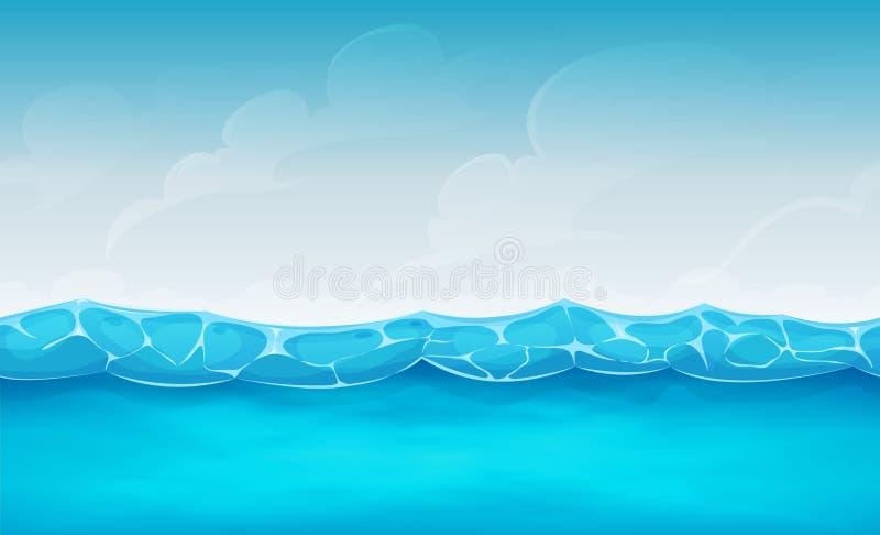 Άνευ ραφής θερινό ωκεάνιο υπόβαθρο για το παιχνίδι Ui ελεύθερη απεικόνιση δικαιώματος