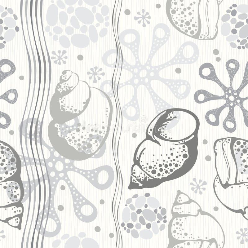 άνευ ραφής διάνυσμα προτύπων απεικόνισης θαλάσσιο Μονοχρωματικό συρμένο χέρι illustrati διανυσματική απεικόνιση