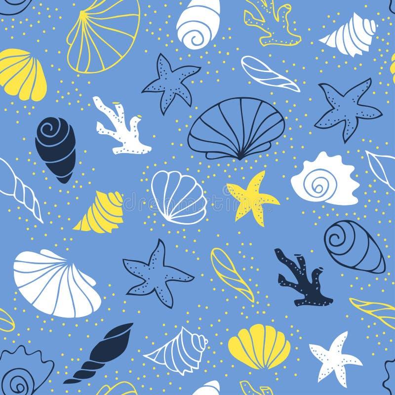 άνευ ραφής διάνυσμα προτύπων απεικόνισης θαλάσσιο ελεύθερη απεικόνιση δικαιώματος