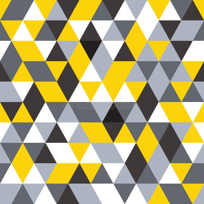 άνευ ραφής διάνυσμα προτύπων σύγχρονη μοντέρνη σύσταση Επανάληψη του γεωμετρικού υποβάθρου Μαύρα, γκρίζα και κίτρινα χρώματα απεικόνιση αποθεμάτων