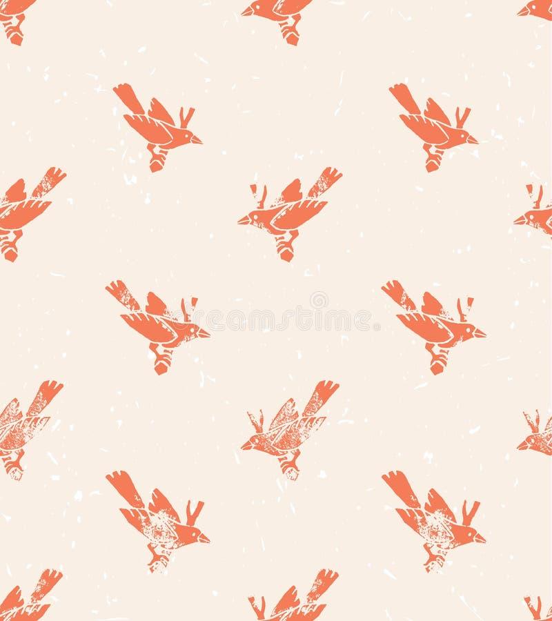 άνευ ραφής διάνυσμα προτύπων linocut ύφος με τα πουλιά διανυσματική απεικόνιση