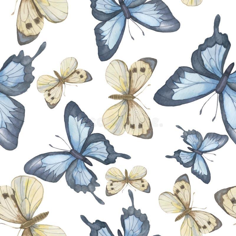 άνευ ραφής διάνυσμα προτύπ&omeg Πεταλούδα Watercolor διάνυσμα διανυσματική απεικόνιση
