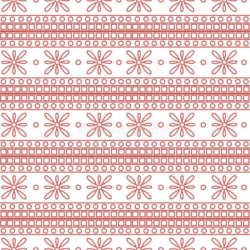 άνευ ραφής διάνυσμα προτύπ&omeg Συμμετρικό γεωμετρικό υπόβαθρο με τα ρόδινα τετράγωνα και τα λουλούδια στο άσπρο σκηνικό διακοσμη απεικόνιση αποθεμάτων