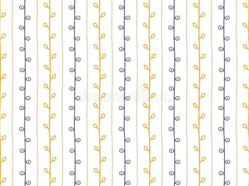 άνευ ραφής διάνυσμα προτύπ&omeg Συρμένη χέρι απεικόνιση κλάδων Αφηρημένοι κάθετοι γραμμές και κλαδίσκοι στο άσπρο υπόβαθρο διανυσματική απεικόνιση