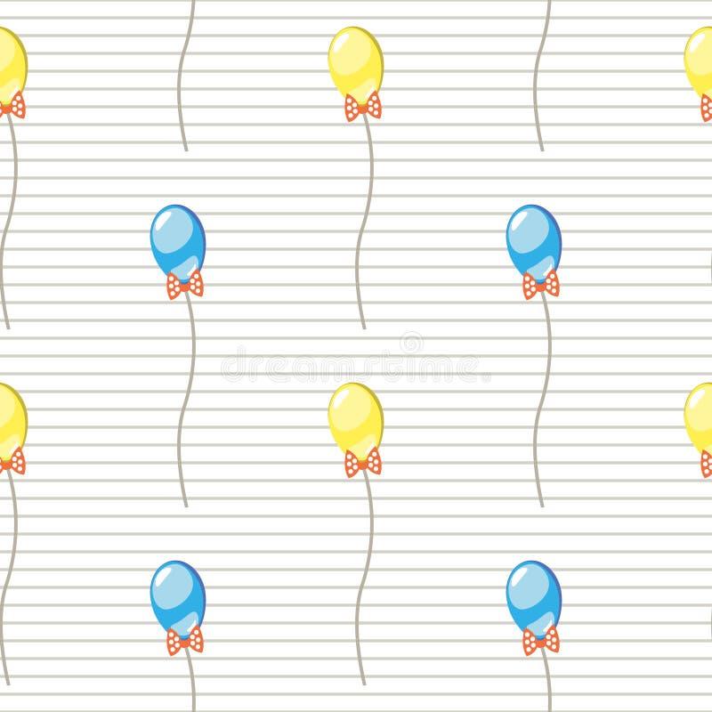 άνευ ραφής διάνυσμα προτύπ&omeg Υπόβαθρο με ζωηρόχρωμα ballons και τα τόξα στο γκρίζο ευθυγραμμισμένο σκηνικό απεικόνιση αποθεμάτων