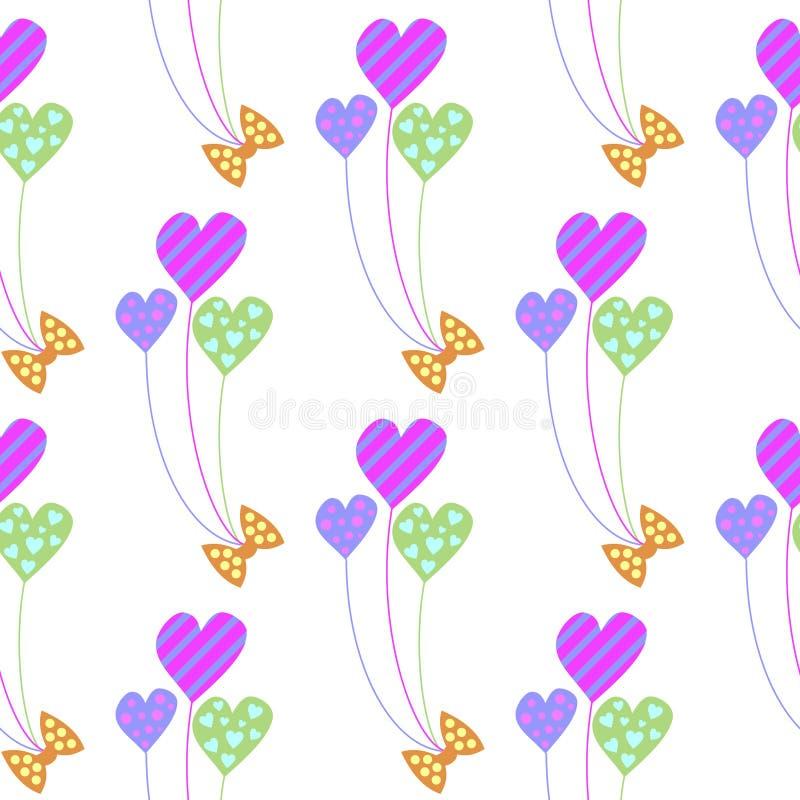 άνευ ραφής διάνυσμα προτύπ&omeg Χαριτωμένο υπόβαθρο με τα ζωηρόχρωμα μπαλόνια με μορφή των καρδιών ελεύθερη απεικόνιση δικαιώματος