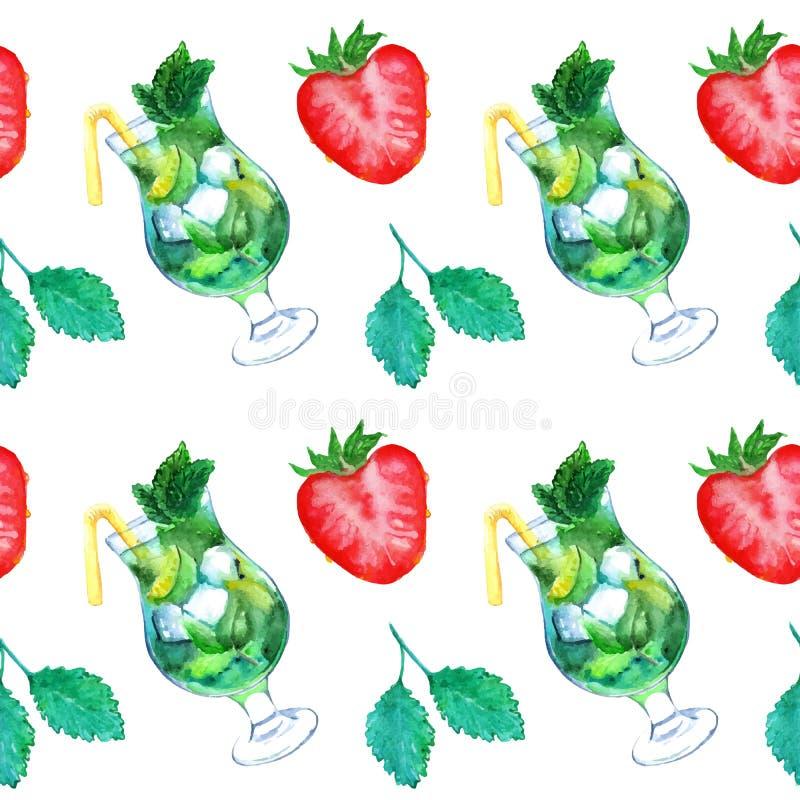 Άνευ ραφής διάνυσμα σχεδίων κοκτέιλ φραουλών μεντών πάγου ασβέστη mojito Watercolor απεικόνιση αποθεμάτων