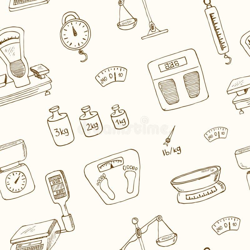 Άνευ ραφής διάνυσμα σχεδίων μηχανών ζυγίσματος Doodle απεικόνιση αποθεμάτων