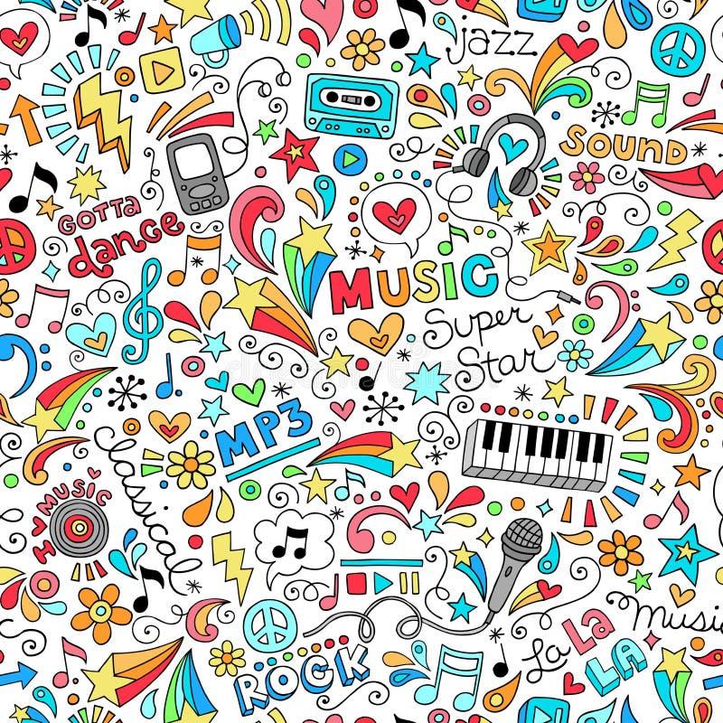 Άνευ ραφής διάνυσμα Doodles σημειωματάριων σχεδίων μουσικής άρρωστο διανυσματική απεικόνιση
