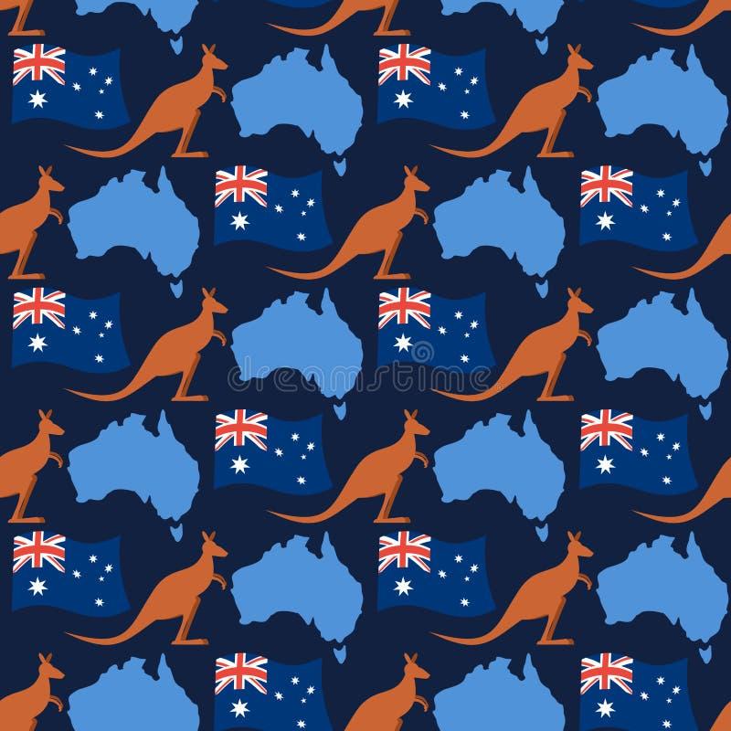 Άνευ ραφής διακόσμηση ημέρας της Αυστραλίας Καγκουρό και σημαία της Αυστραλίας απεικόνιση αποθεμάτων