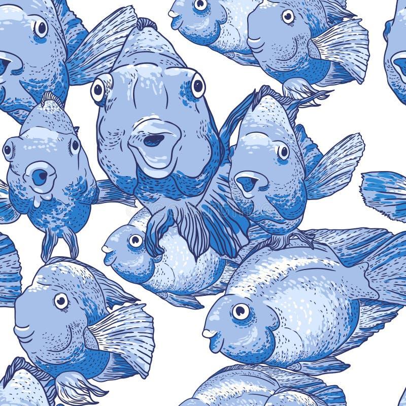 Άνευ ραφής διακόσμηση με τα μπλε ψάρια απεικόνιση αποθεμάτων