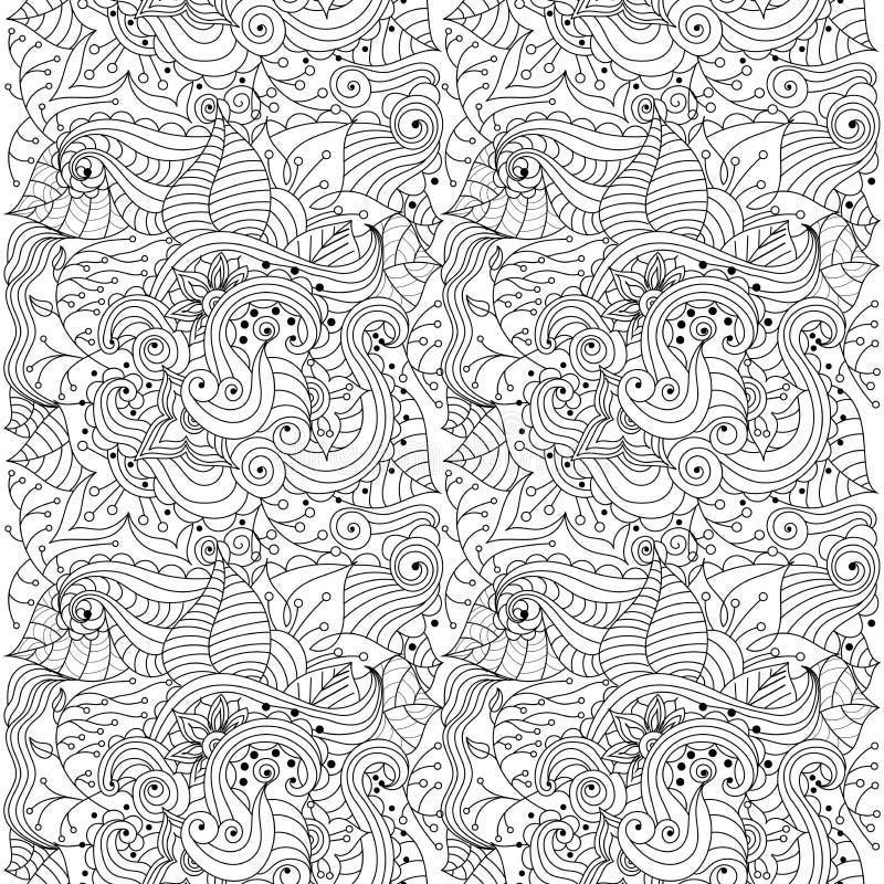 Άνευ ραφής διανυσματική αφηρημένη hand-drawn floral σύσταση διανυσματική απεικόνιση