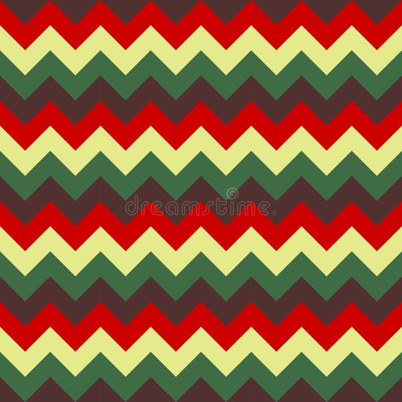 Άνευ ραφής διανυσματική ζωηρόχρωμη πράσινη μπεζ κόκκινη σκοτεινή πορφύρα γεωμετρικού σχεδίου βελών σχεδίων σιριτιών απεικόνιση αποθεμάτων