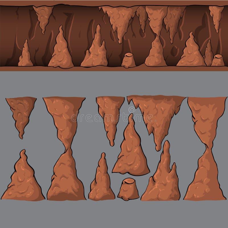 Άνευ ραφής διανυσματική σπηλιά κινούμενων σχεδίων απεικόνιση αποθεμάτων