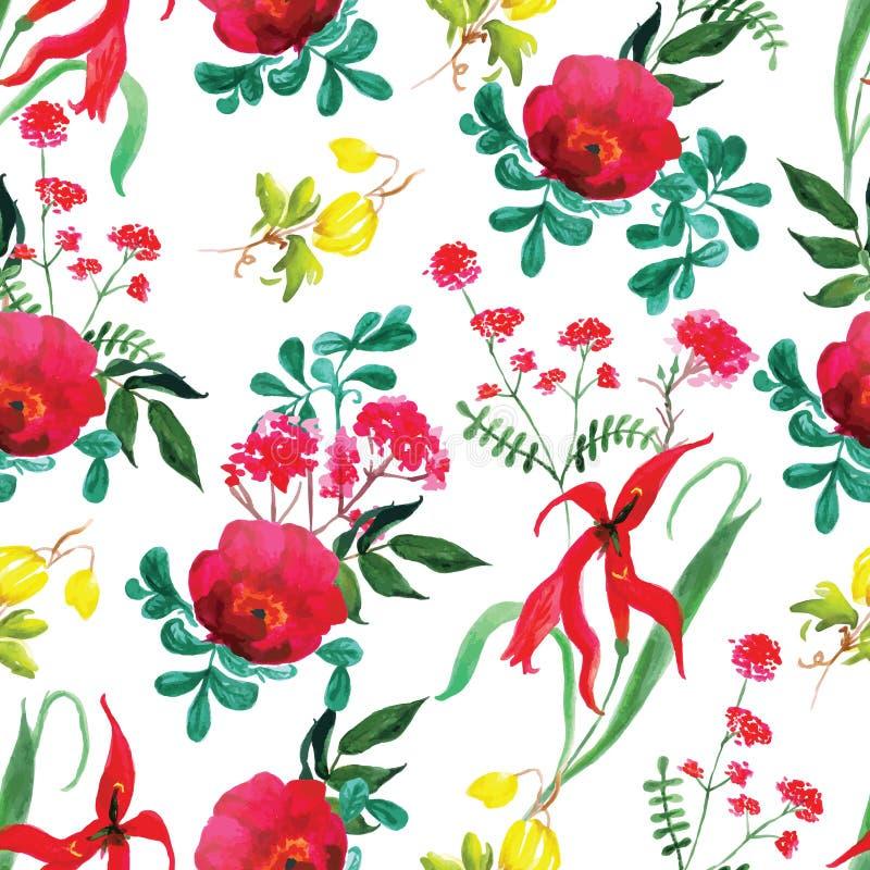 Άνευ ραφής διανυσματική τυπωμένη ύλη watercolor τριαντάφυλλων και λουλουδιών ελεύθερη απεικόνιση δικαιώματος