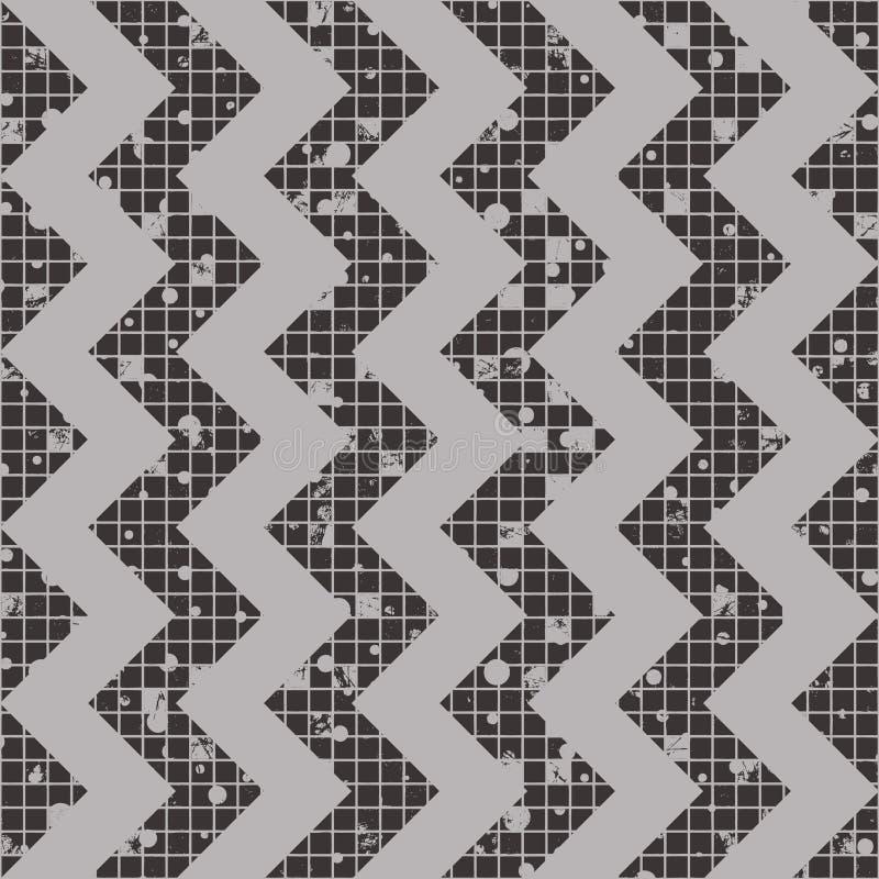 Άνευ ραφής διανυσματικό ριγωτό σχέδιο γεωμετρικό υπόβαθρο με το τρέκλισμα Σύσταση Grunge με την τριβή, ρωγμές και αμβροσία Παλαιό ελεύθερη απεικόνιση δικαιώματος