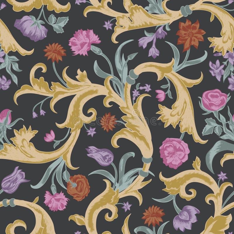 Άνευ ραφής διανυσματικό σκοτεινό εκλεκτής ποιότητας floral σχέδιο απεικόνιση αποθεμάτων