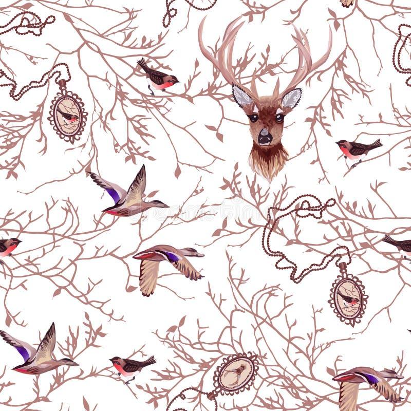 Άνευ ραφής διανυσματικό σχέδιο άγριας φύσης με τους κλάδους δέντρων, μετάλλιο αλυσίδων ελεύθερη απεικόνιση δικαιώματος
