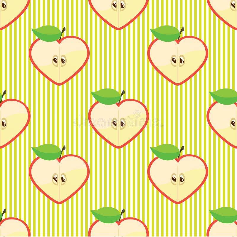 Άνευ ραφής διανυσματικό σχέδιο ή υπόβαθρο μήλων μισών ελεύθερη απεικόνιση δικαιώματος