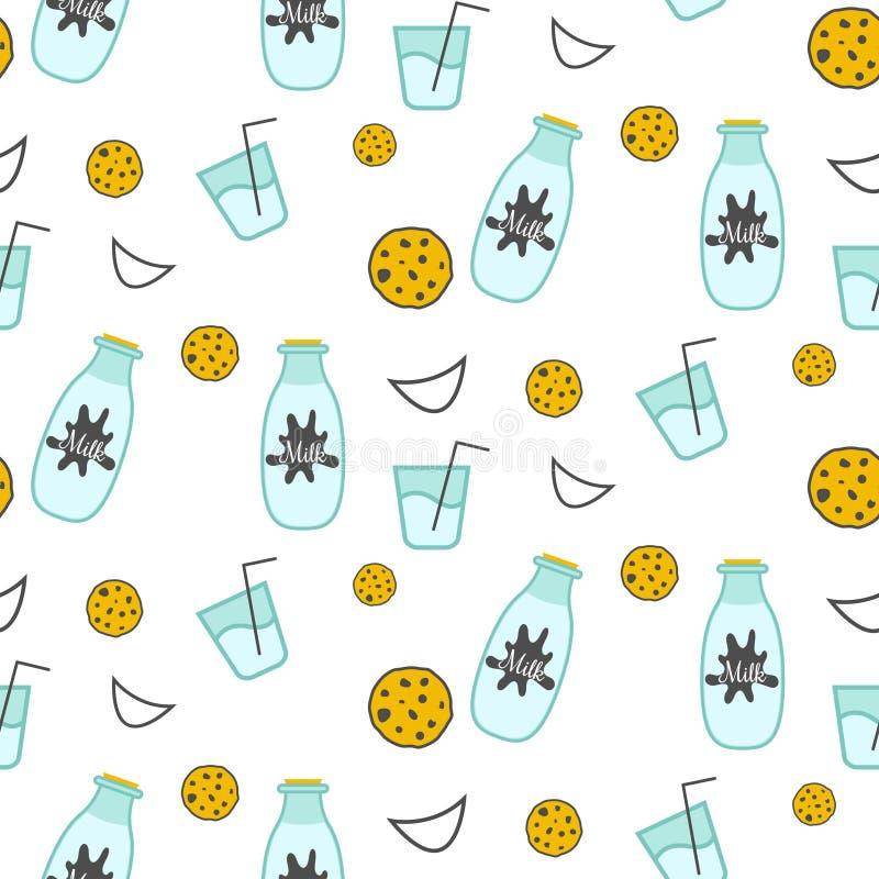 Άνευ ραφής διανυσματικό σχέδιο γάλακτος και μπισκότων ελεύθερη απεικόνιση δικαιώματος