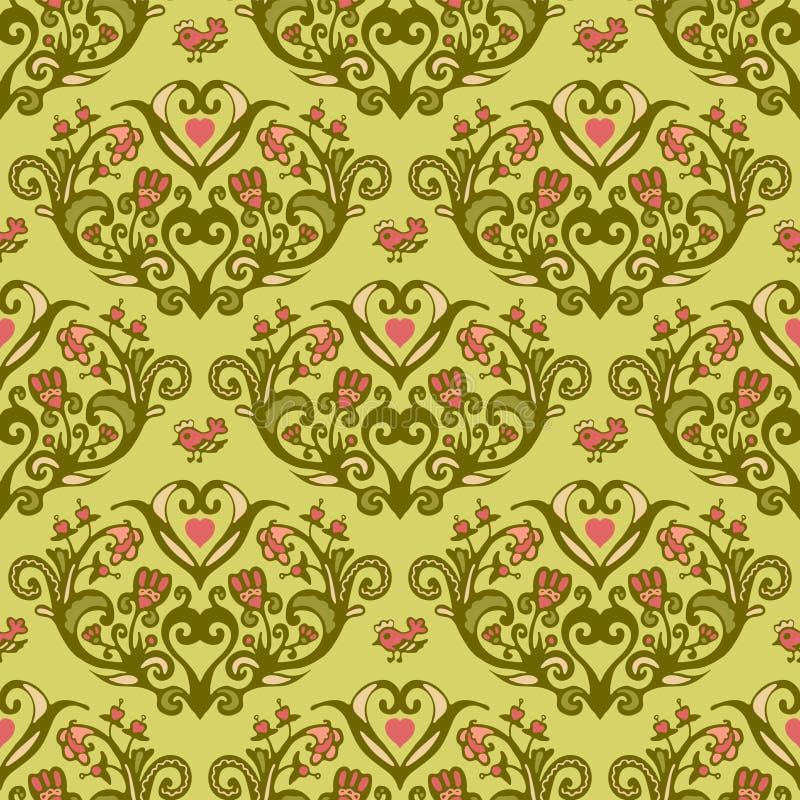 Άνευ ραφής διανυσματικό σχέδιο καρδιών λουλουδιών πουλιών άνοιξη ελεύθερη απεικόνιση δικαιώματος
