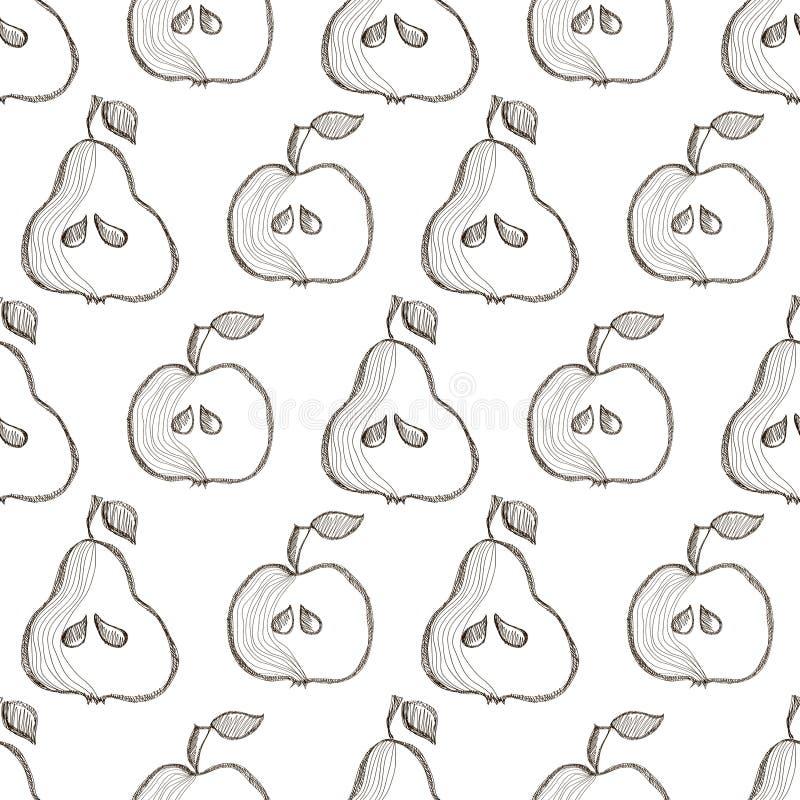 Άνευ ραφής διανυσματικό σχέδιο με συρμένα τα χέρι φρούτα Υπόβαθρο με τα αχλάδια και τα μήλα διανυσματική απεικόνιση