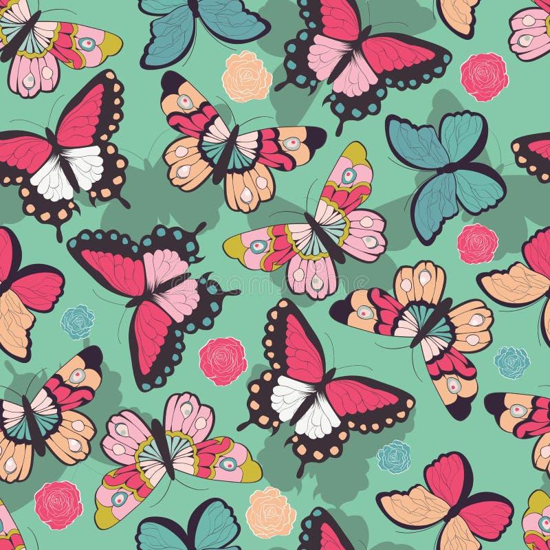 Άνευ ραφής διανυσματικό σχέδιο με συρμένες τις χέρι ζωηρόχρωμες πεταλούδες απεικόνιση αποθεμάτων