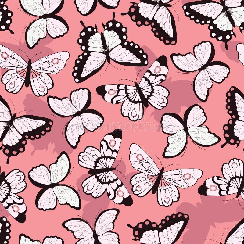Άνευ ραφής διανυσματικό σχέδιο με συρμένες τις χέρι ζωηρόχρωμες πεταλούδες, ρόδινο υπόβαθρο απεικόνιση αποθεμάτων