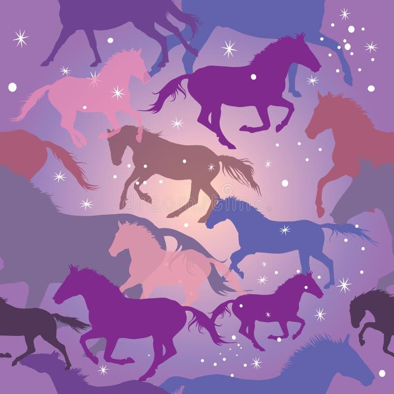 Άνευ ραφής διανυσματικό σχέδιο με τα άλογα στο πορφυρό υπόβαθρο ελεύθερη απεικόνιση δικαιώματος