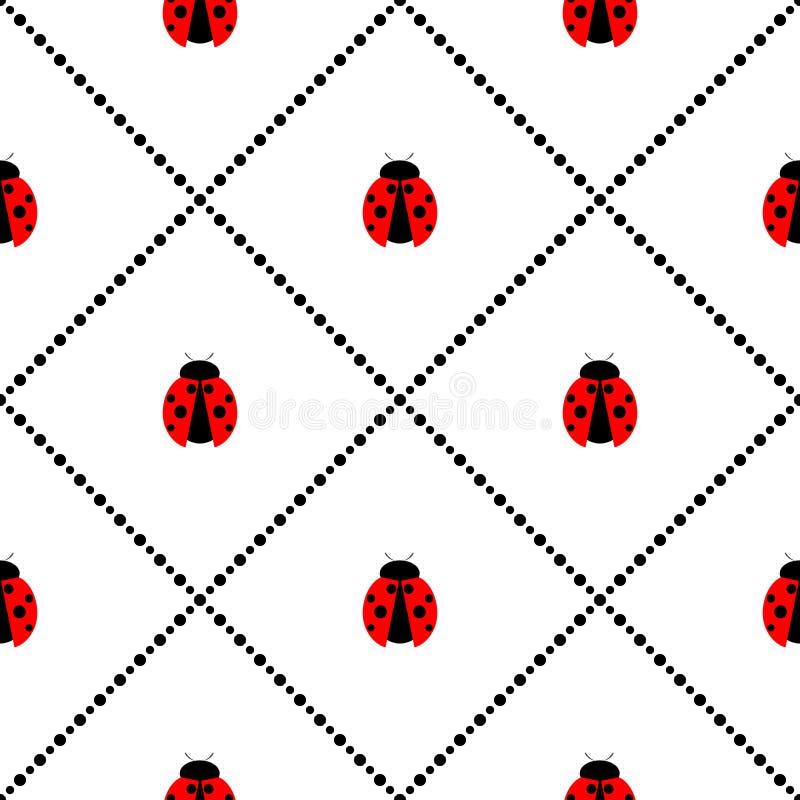 Άνευ ραφής διανυσματικό σχέδιο με τα έντομα, συμμετρικό γεωμετρικό υπόβαθρο με τα φωτεινά μικρά ladybugs, πέρα από το άσπρο σκηνι ελεύθερη απεικόνιση δικαιώματος