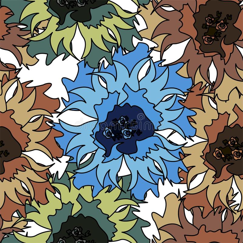 Άνευ ραφής διανυσματικό σχέδιο με τα αφηρημένα λουλούδια συρμένο ανασκόπηση floral χέρι ελεύθερη απεικόνιση δικαιώματος