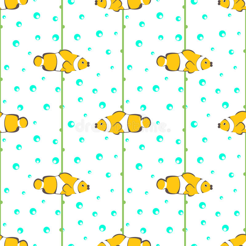 Άνευ ραφής διανυσματικό σχέδιο με τα κίτρινες ψάρια, το φύκι και τις φυσαλίδες στο άσπρο υπόβαθρο απεικόνιση αποθεμάτων