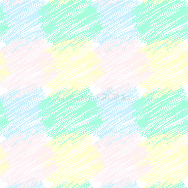 Άνευ ραφής διανυσματικό σχέδιο με τα κτυπημένα τακτοποιημένα μπαλώματα Διανυσματική συρμένη χέρι σύσταση Υπόβαθρο κραγιονιών απεικόνιση αποθεμάτων