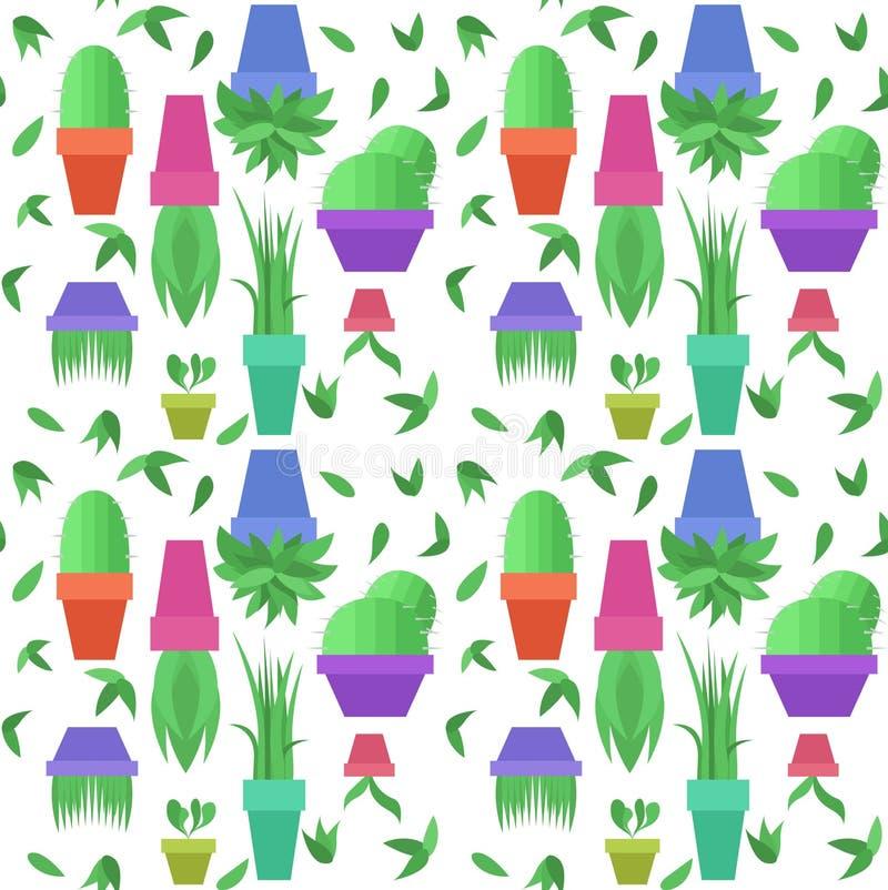 Άνευ ραφής διανυσματικό σχέδιο με τα πράσινα φύλλα και δοχεία με τα houseplants διανυσματική απεικόνιση