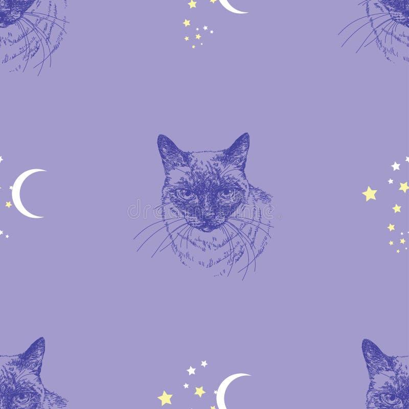 Άνευ ραφής διανυσματικό σχέδιο με τη γάτα, τα αστέρια και το φεγγάρι στο μπλε υπόβαθρο διανυσματική απεικόνιση