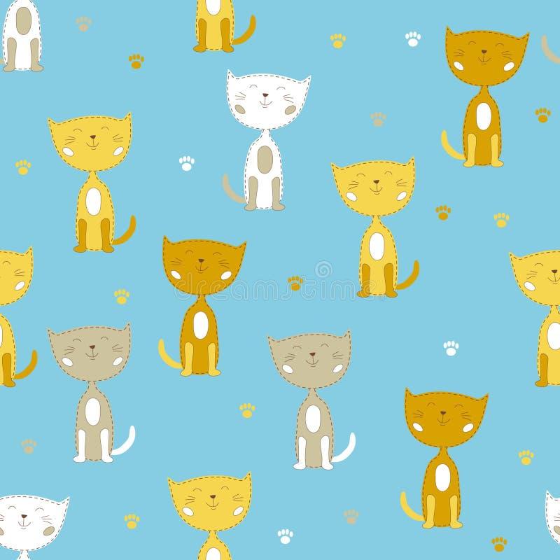 Άνευ ραφής διανυσματικό σχέδιο με τις άσπρες και κίτρινες χαριτωμένες μικρές γάτες ελεύθερη απεικόνιση δικαιώματος