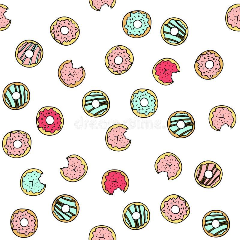 Άνευ ραφής διανυσματικό σχέδιο με το χέρι doodle που σύρεται donuts ελεύθερη απεικόνιση δικαιώματος