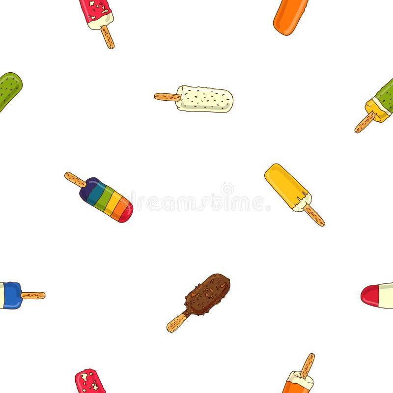 Άνευ ραφής διανυσματικό σχέδιο στο διαφορετικό popsicle απεικόνιση αποθεμάτων