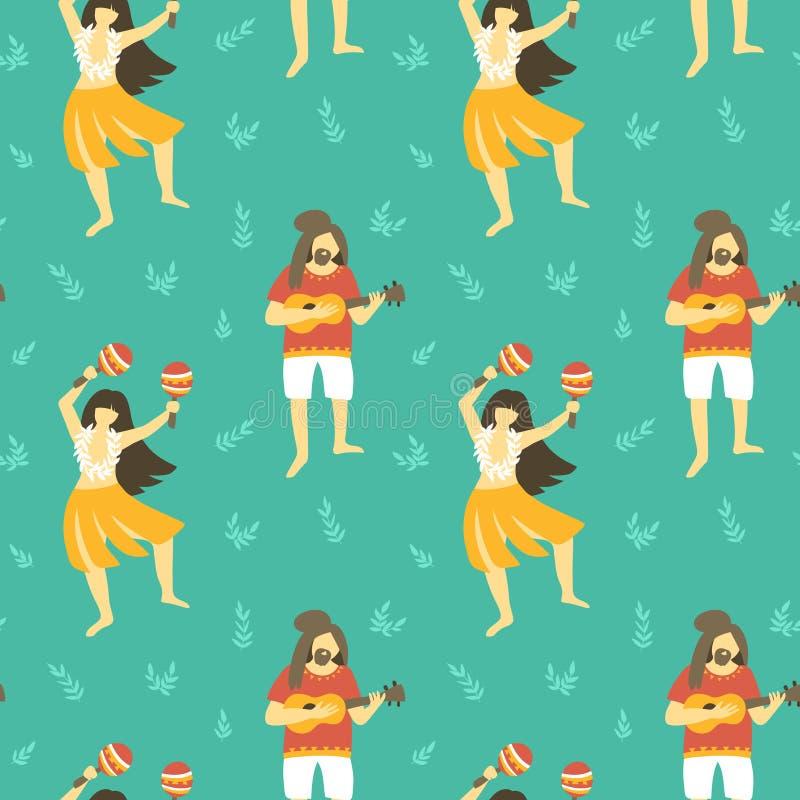 Άνευ ραφής διανυσματικό σχέδιο της Χαβάης Θερινό υπόβαθρο με τα χορεύοντας κορίτσια και τα άτομα που παίζουν ukulele ελεύθερη απεικόνιση δικαιώματος