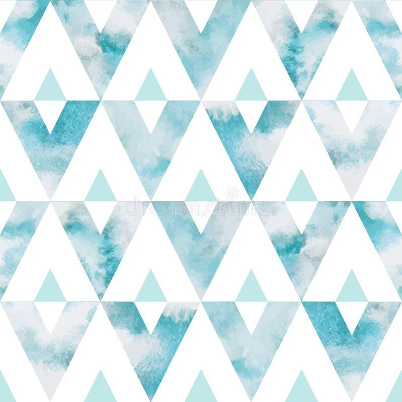 Άνευ ραφής διανυσματικό σχέδιο τριγώνων ουρανού Watercolor διανυσματική απεικόνιση